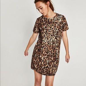 NWT Zara Short Sleeve Leopard Dress